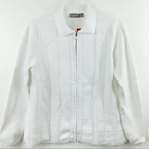 Gorgeous white zipper cardigan with collar